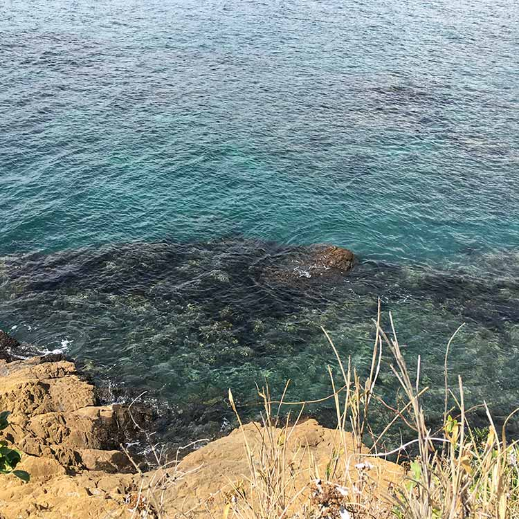 立石梵天の鼻 砂地と岩礁帯が入り混じる