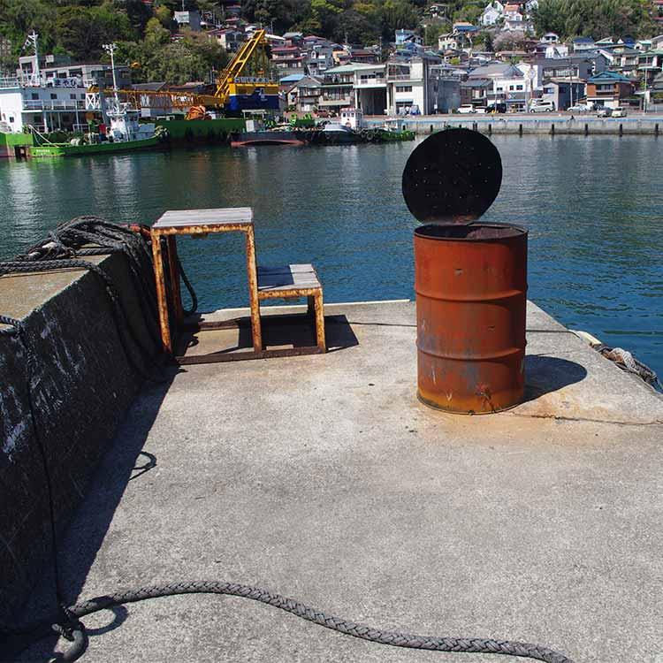 船着き場にある突き出した堤防の先端